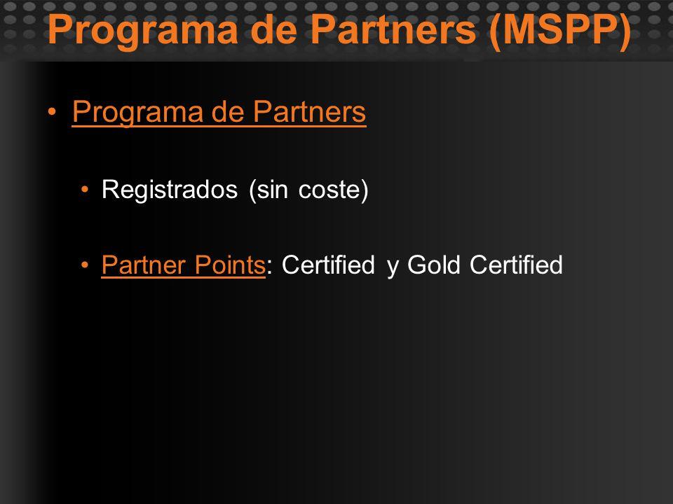 Programa de Partners (MSPP) Programa de Partners Registrados (sin coste) Partner Points: Certified y Gold Certified