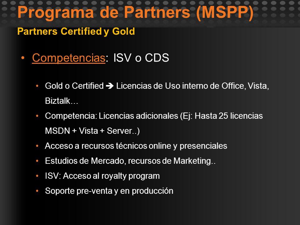 Programa de Partners (MSPP) Competencias: ISV o CDSCompetencias Gold o Certified Licencias de Uso interno de Office, Vista, Biztalk… Competencia: Lice