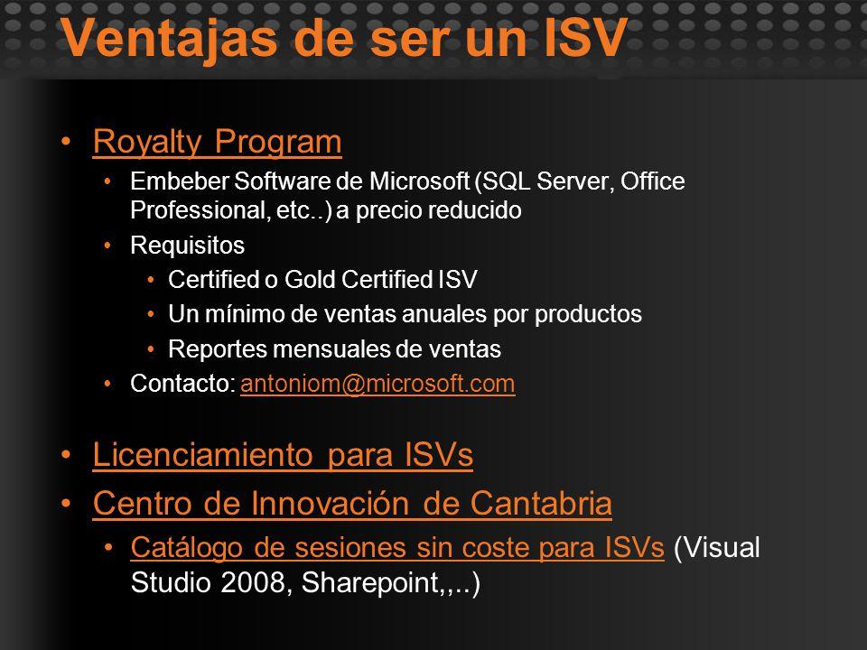 Ventajas de ser un ISV Royalty Program Embeber Software de Microsoft (SQL Server, Office Professional, etc..) a precio reducido Requisitos Certified o