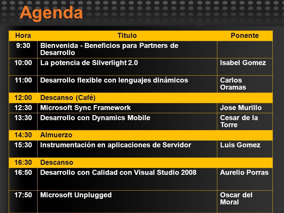 Agenda HoraTituloPonente 9:30Bienvenida - Beneficios para Partners de Desarrollo 10:00La potencia de Silverlight 2.0Isabel Gomez 11:00Desarrollo flexi