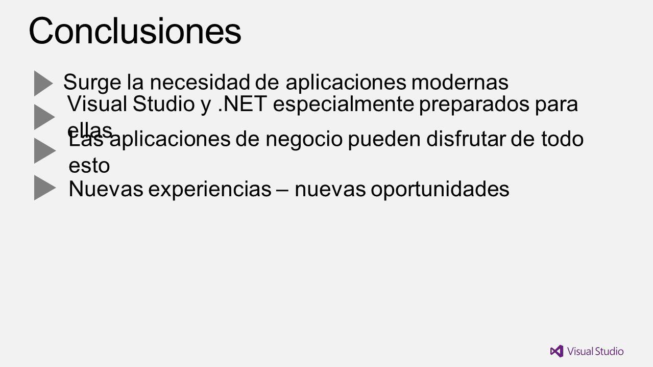 Surge la necesidad de aplicaciones modernas Visual Studio y.NET especialmente preparados para ellas Las aplicaciones de negocio pueden disfrutar de todo esto Nuevas experiencias – nuevas oportunidades