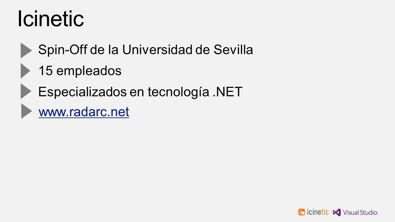 Spin-Off de la Universidad de Sevilla 15 empleados Especializados en tecnología.NET www.radarc.net