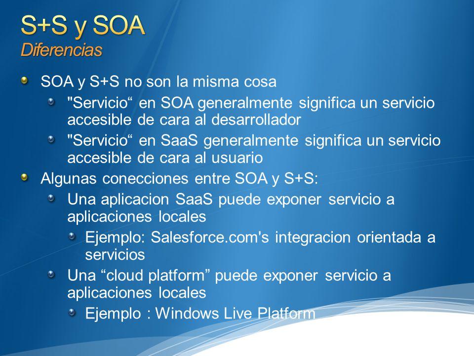 SOA y S+S no son la misma cosa Servicio en SOA generalmente significa un servicio accesible de cara al desarrollador Servicio en SaaS generalmente significa un servicio accesible de cara al usuario Algunas conecciones entre SOA y S+S: Una aplicacion SaaS puede exponer servicio a aplicaciones locales Ejemplo: Salesforce.com s integracion orientada a servicios Una cloud platform puede exponer servicio a aplicaciones locales Ejemplo : Windows Live Platform