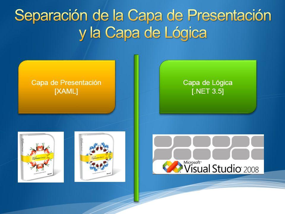 Capa de Presentación [XAML] Capa de Presentación [XAML] Capa de Lógica [.NET 3.5] Capa de Lógica [.NET 3.5]