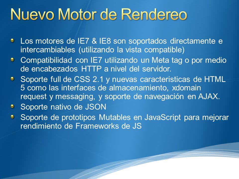 Los motores de IE7 & IE8 son soportados directamente e intercambiables (utilizando la vista compatible) Compatibilidad con IE7 utilizando un Meta tag o por medio de encabezados HTTP a nivel del servidor.