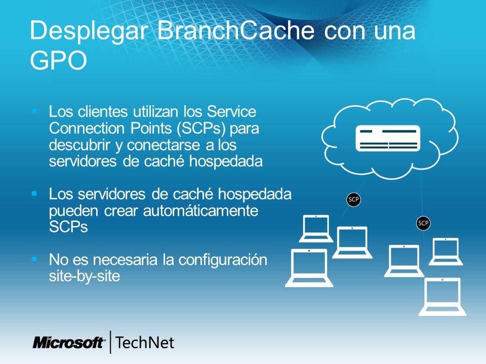 Desplegar BranchCache con una GPO Los clientes utilizan los Service Connection Points (SCPs) para descubrir y conectarse a los servidores de caché hos