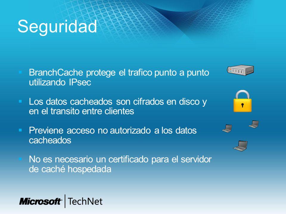 Seguridad BranchCache protege el trafico punto a punto utilizando IPsec Los datos cacheados son cifrados en disco y en el transito entre clientes Prev