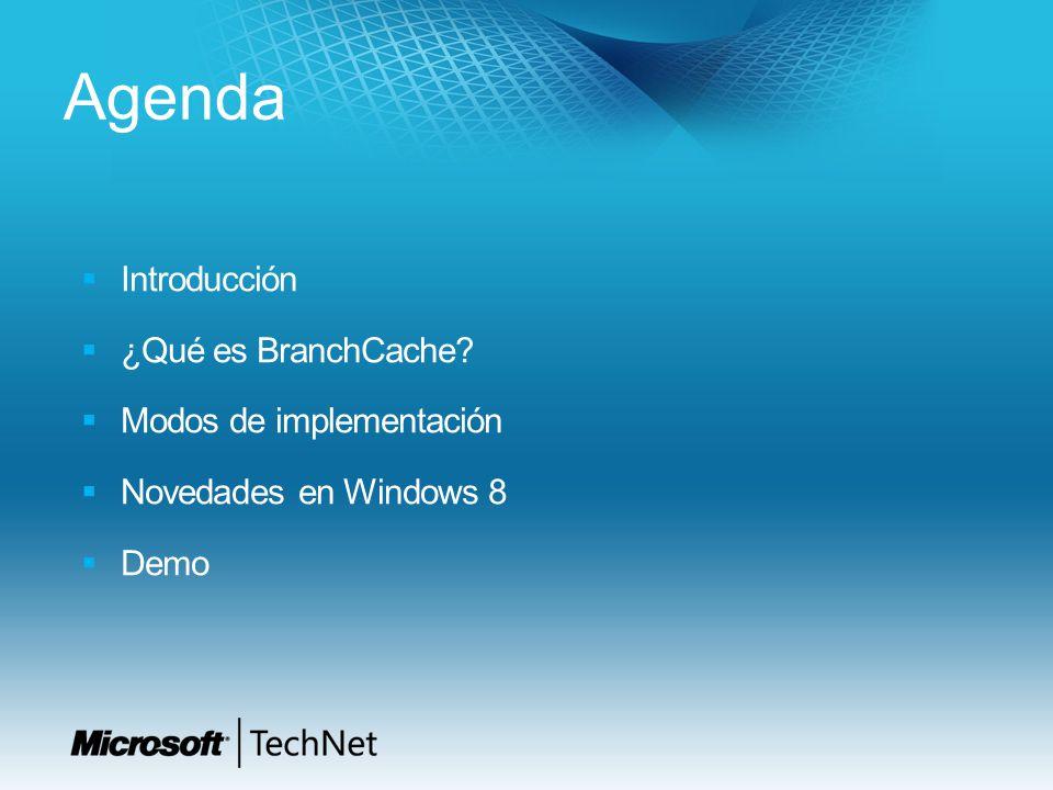 Agenda Introducción ¿Qué es BranchCache? Modos de implementación Novedades en Windows 8 Demo