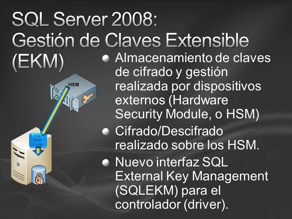 Almacenamiento de claves de cifrado y gestión realizada por dispositivos externos (Hardware Security Module, o HSM) Cifrado/Descifrado realizado sobre