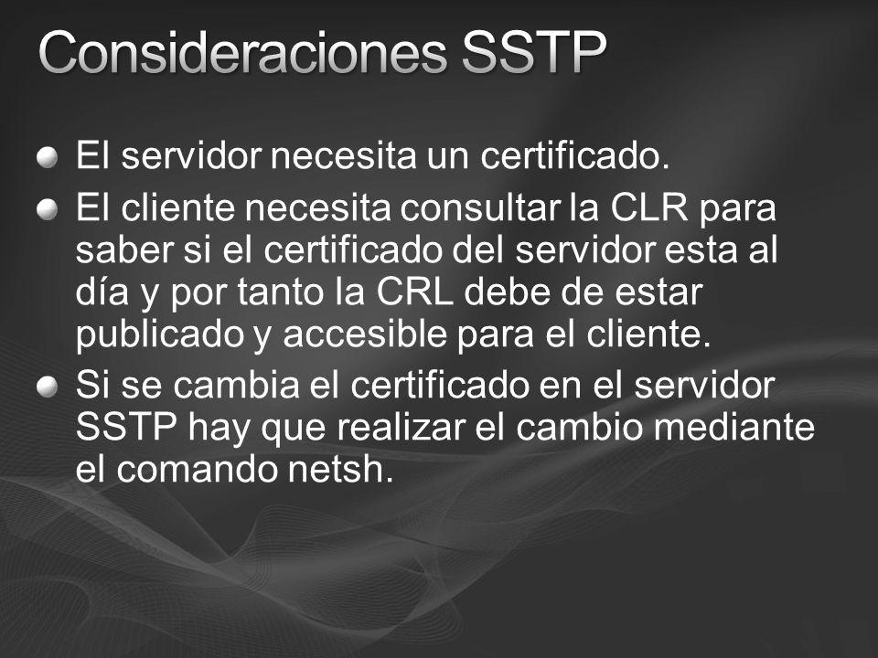 El servidor necesita un certificado. El cliente necesita consultar la CLR para saber si el certificado del servidor esta al día y por tanto la CRL deb