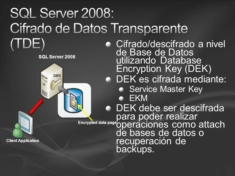 Cifrado/descifrado a nivel de Base de Datos utilizando Database Encryption Key (DEK) DEK es cifrada mediante: Service Master Key EKM DEK debe ser desc
