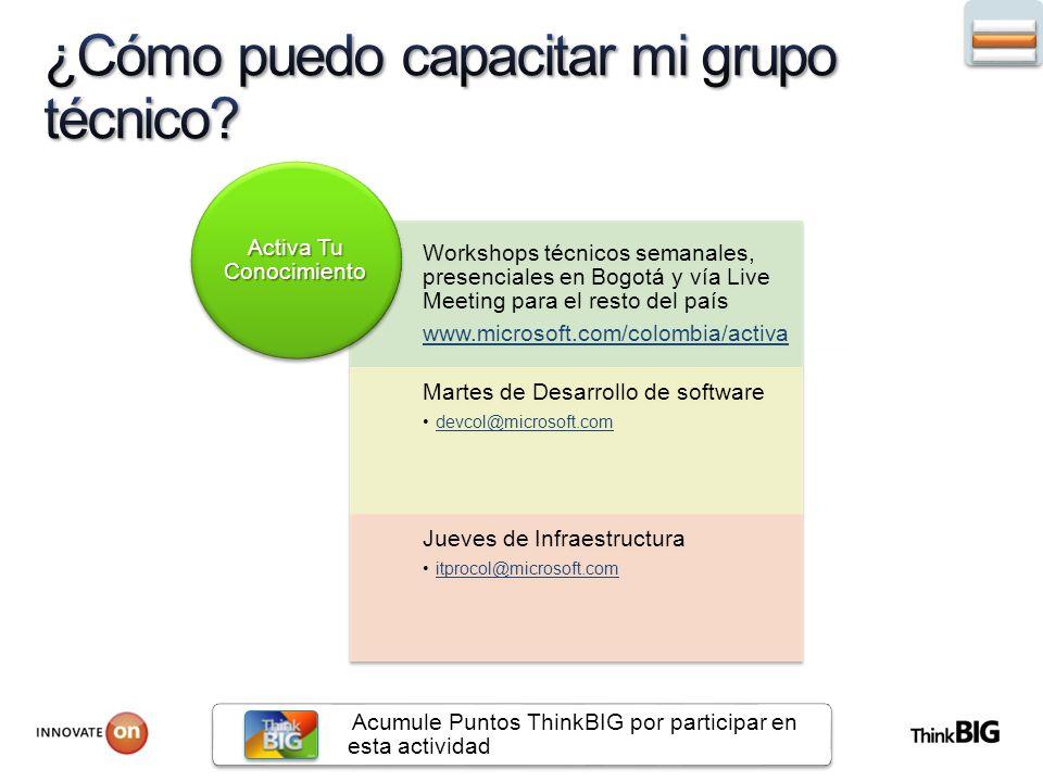 Workshops técnicos semanales, presenciales en Bogotá y vía Live Meeting para el resto del país www.microsoft.com/colombia/activa Martes de Desarrollo de software devcol@microsoft.com Jueves de Infraestructura itprocol@microsoft.com Activa Tu Conocimiento Acumule Puntos ThinkBIG por participar en esta actividad