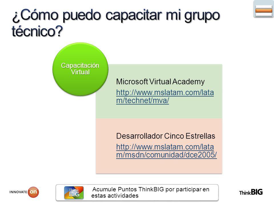 Microsoft Virtual Academy http://www.mslatam.com/lata m/technet/mva/ Desarrollador Cinco Estrellas http://www.mslatam.com/lata m/msdn/comunidad/dce2005/ Capacitación Virtual Acumule Puntos ThinkBIG por participar en estas actividades