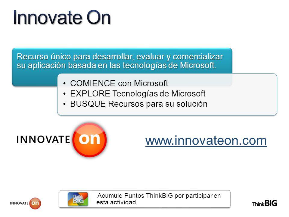 Recurso único para desarrollar, evaluar y comercializar su aplicación basada en las tecnologías de Microsoft.