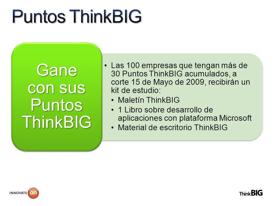 Las 100 empresas que tengan más de 30 Puntos ThinkBIG acumulados, a corte 15 de Mayo de 2009, recibirán un kit de estudio: Maletín ThinkBIG 1 Libro sobre desarrollo de aplicaciones con plataforma Microsoft Material de escritorio ThinkBIG Gane con sus Puntos ThinkBIG