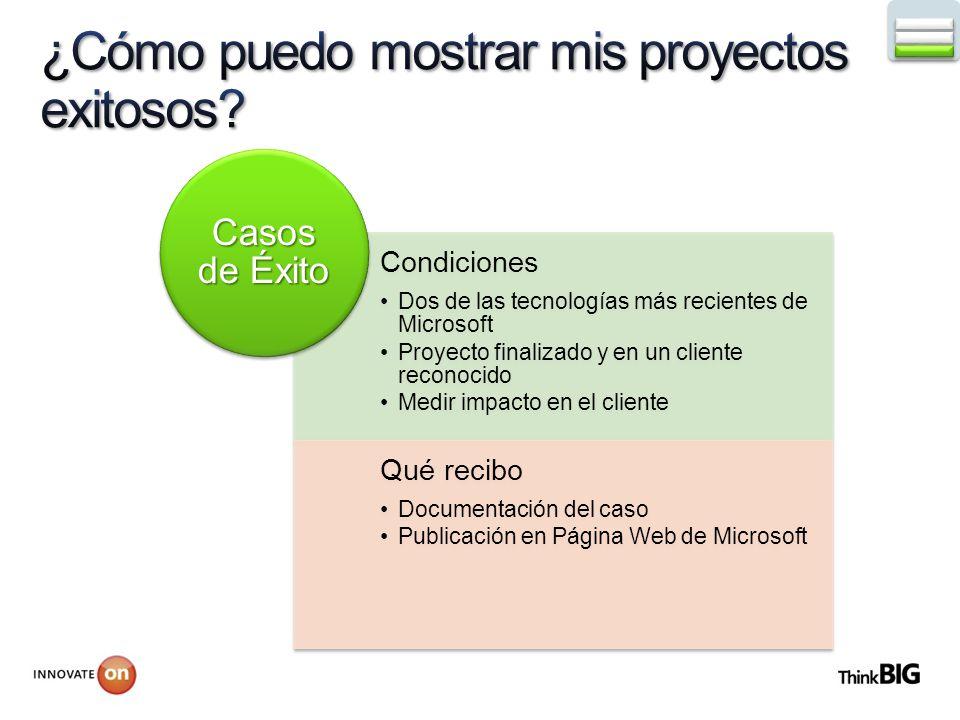 Condiciones Dos de las tecnologías más recientes de Microsoft Proyecto finalizado y en un cliente reconocido Medir impacto en el cliente Qué recibo Documentación del caso Publicación en Página Web de Microsoft Casos de Éxito