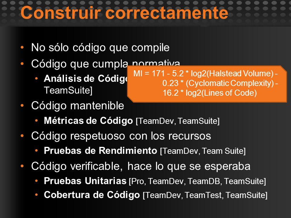 Construir correctamente No sólo código que compile Código que cumpla normativa Análisis de Código [TeamDev, TeamDB, TeamSuite] Código mantenible Métri