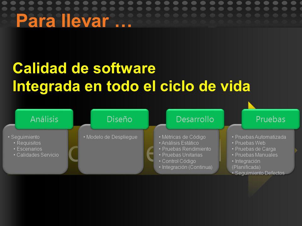Seguimiento Requisitos Escenarios Calidades Servicio Seguimiento Requisitos Escenarios Calidades Servicio Análisis Modelo de Despliegue Diseño Métrica