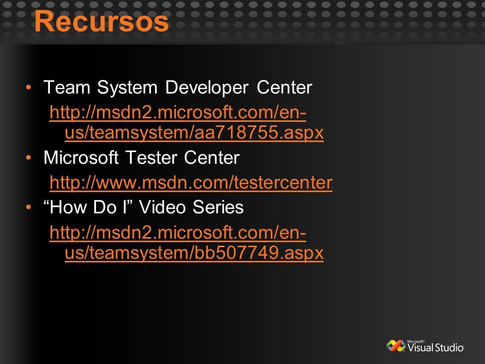 Recursos Team System Developer Center http://msdn2.microsoft.com/en- us/teamsystem/aa718755.aspx Microsoft Tester Center http://www.msdn.com/testercen