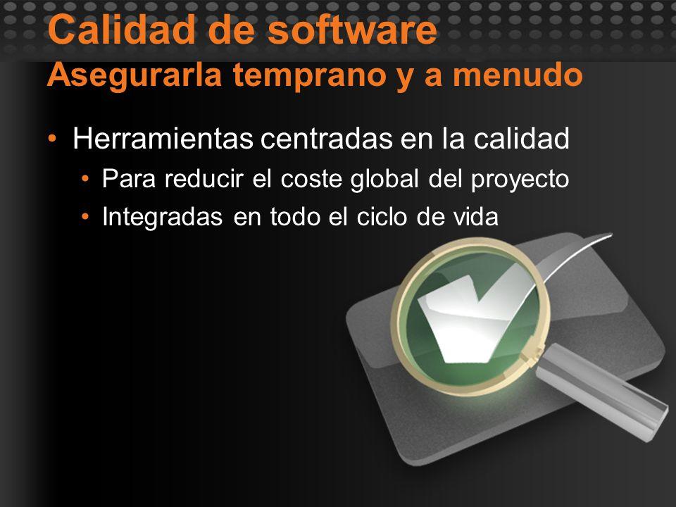 Calidad de software Asegurarla temprano y a menudo Herramientas centradas en la calidad Para reducir el coste global del proyecto Integradas en todo e