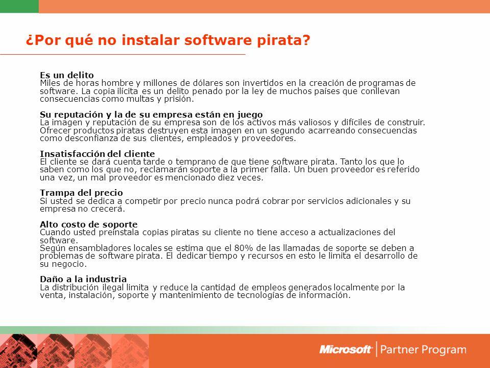 Tipos de piratería Carga en el disco duro Preinstalar una copia sin licencia de software en un Pc antes de su venta.