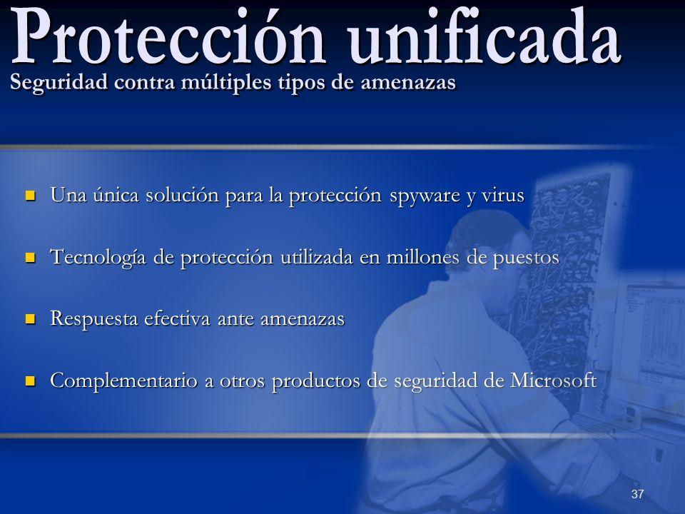 Una única solución para la protección spyware y virus Una única solución para la protección spyware y virus Tecnología de protección utilizada en mill