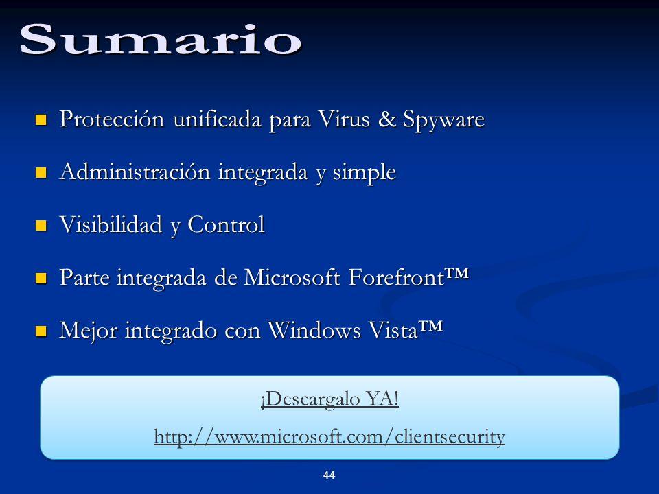 44 Protección unificada para Virus & Spyware Protección unificada para Virus & Spyware Administración integrada y simple Administración integrada y si