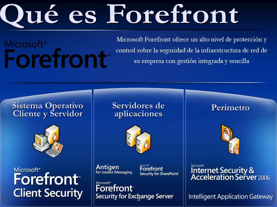Microsoft Forefront ofrece un alto nivel de protección y control sobre la seguridad de la infraestructura de red de su empresa con gestión integrada y