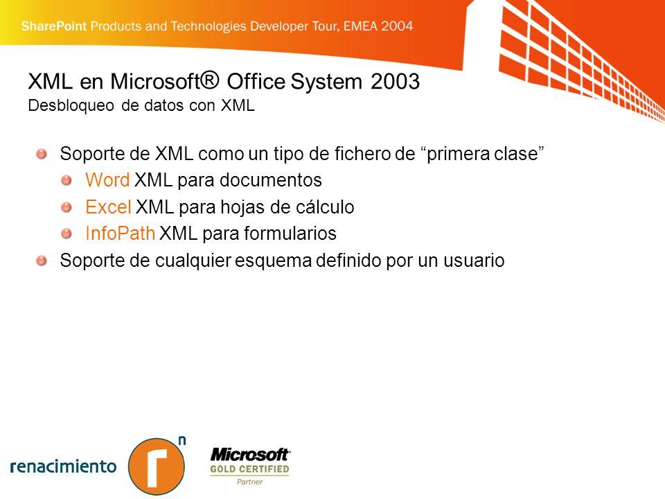 XML en Microsoft ® Office System 2003 Desbloqueo de datos con XML Soporte de XML como un tipo de fichero de primera clase Word XML para documentos Excel XML para hojas de cálculo InfoPath XML para formularios Soporte de cualquier esquema definido por un usuario