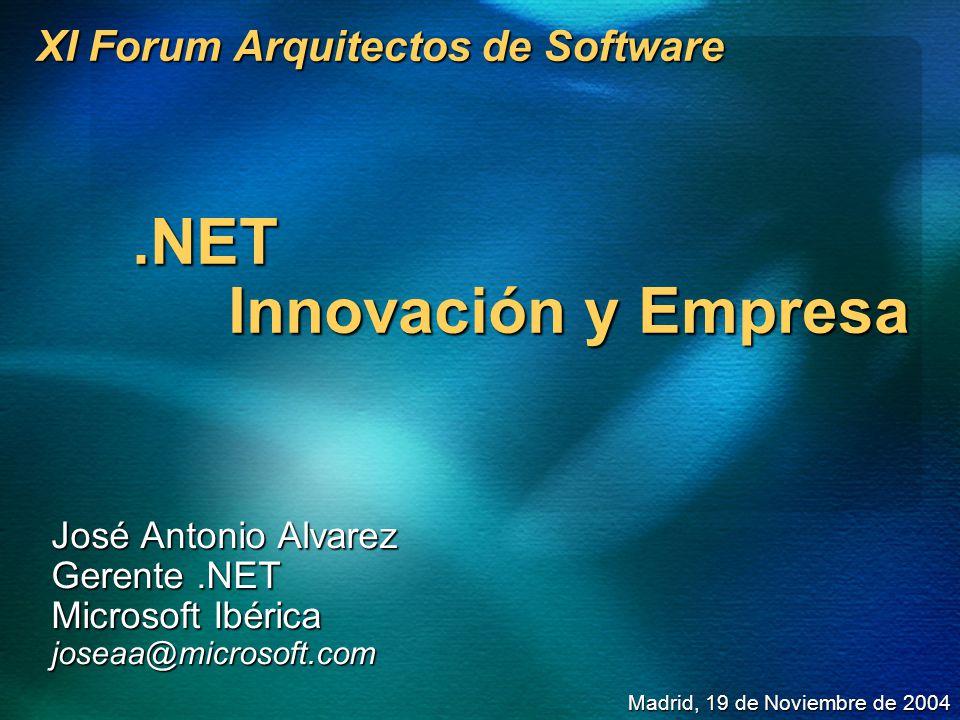 XI Forum Arquitectos de Software.NET Innovación y Empresa José Antonio Alvarez Gerente.NET Microsoft Ibérica joseaa@microsoft.com Madrid, 19 de Noviem