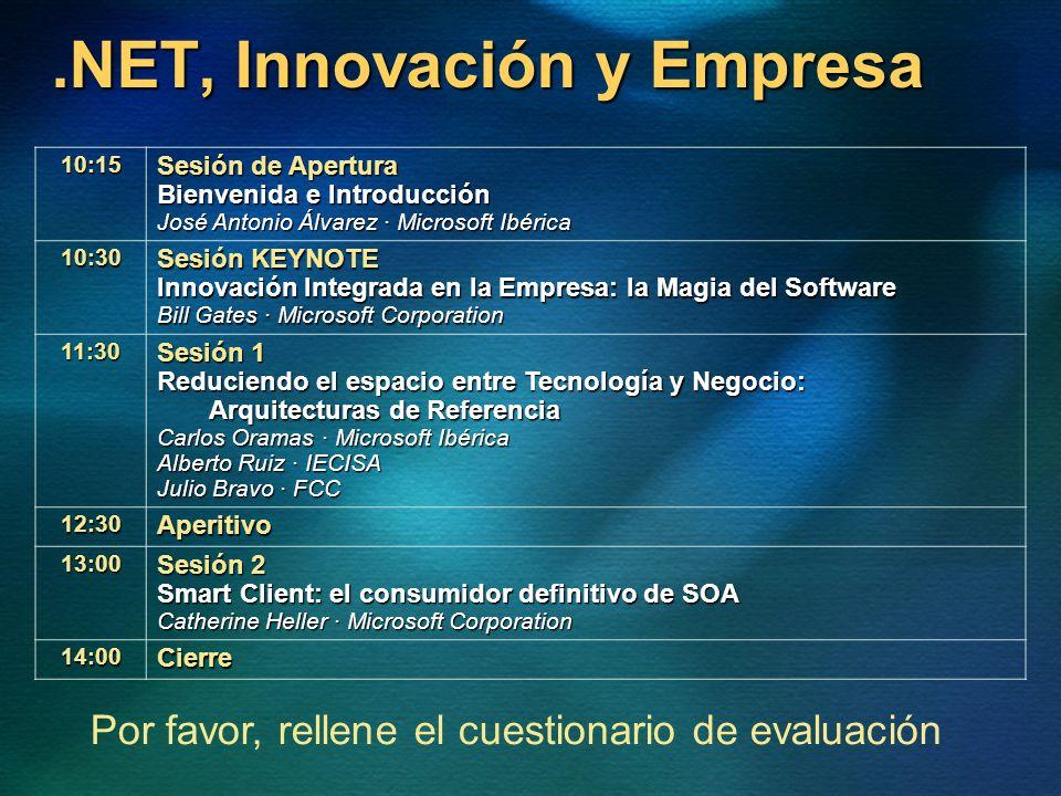 .NET, Innovación y Empresa 10:15 Sesión de Apertura Bienvenida e Introducción José Antonio Álvarez · Microsoft Ibérica 10:30 Sesión KEYNOTE Innovación