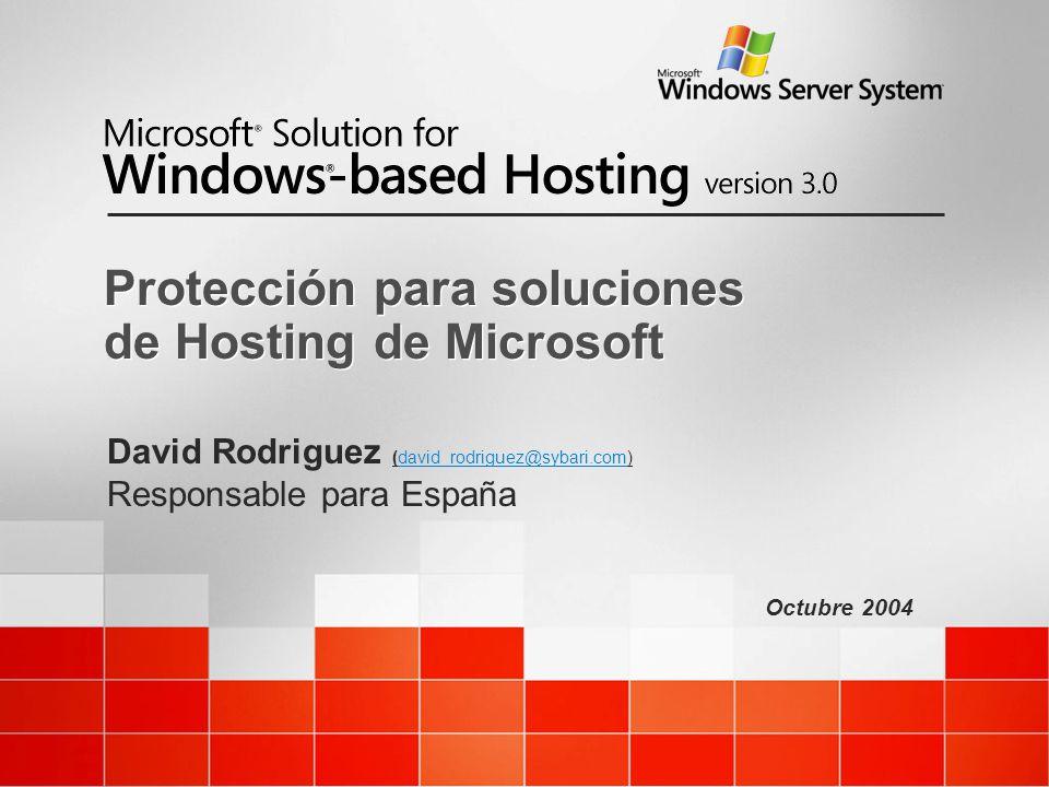 Octubre 2004 Protección para soluciones de Hosting de Microsoft David Rodriguez (david_rodriguez@sybari.com) Responsable para España