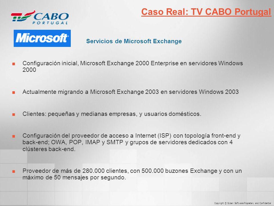 Servicios de Microsoft Exchange Configuración inicial, Microsoft Exchange 2000 Enterprise en servidores Windows 2000 Actualmente migrando a Microsoft Exchange 2003 en servidores Windows 2003 Clientes: pequeñas y medianas empresas, y usuarios domésticos.