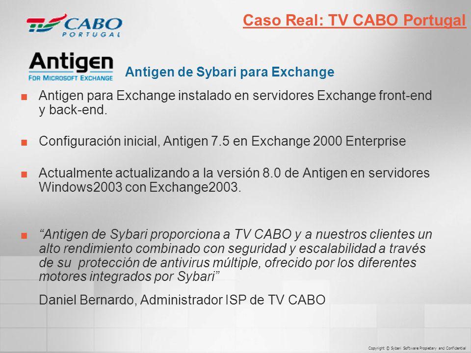 Antigen de Sybari para Exchange Antigen para Exchange instalado en servidores Exchange front-end y back-end.
