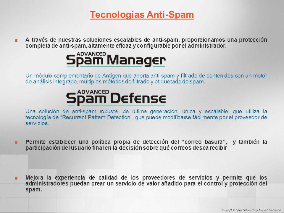 A través de nuestras soluciones escalables de anti-spam, proporcionamos una protección completa de anti-spam, altamente eficaz y configurable por el administrador.
