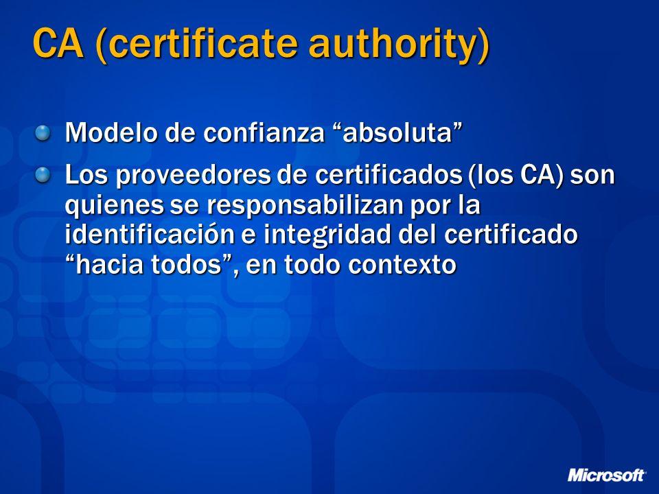 CA (certificate authority) Modelo de confianza absoluta Los proveedores de certificados (los CA) son quienes se responsabilizan por la identificación
