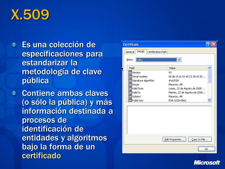 X.509 Es una colección de especificaciones para estandarizar la metodología de clave pública Contiene ambas claves (o sólo la pública) y más informaci