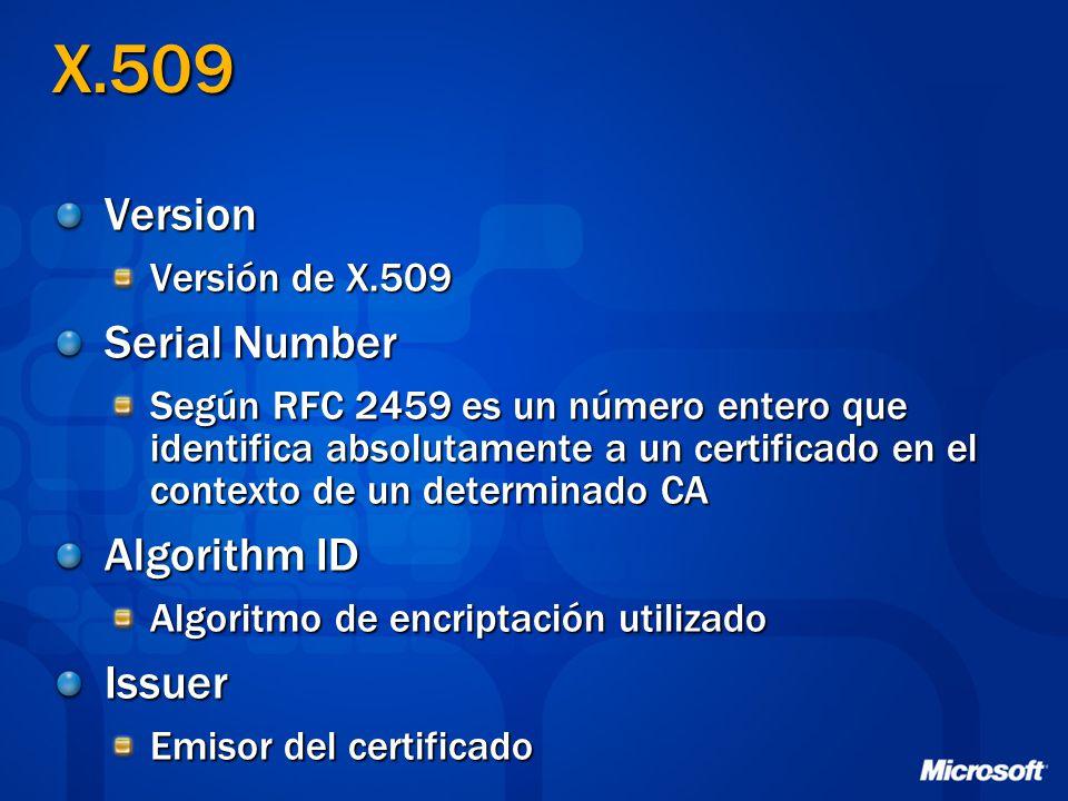 X.509 Version Versión de X.509 Serial Number Según RFC 2459 es un número entero que identifica absolutamente a un certificado en el contexto de un det