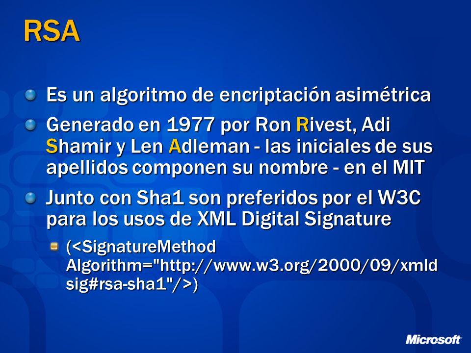 RSA Es un algoritmo de encriptación asimétrica Generado en 1977 por Ron Rivest, Adi Shamir y Len Adleman - las iniciales de sus apellidos componen su