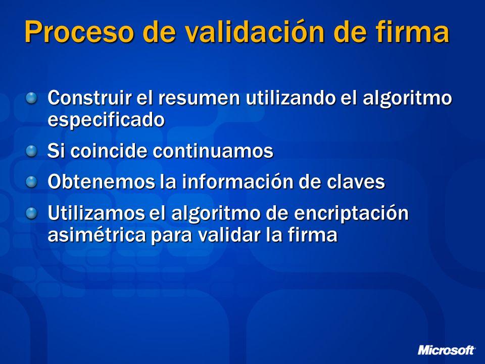 Proceso de validación de firma Construir el resumen utilizando el algoritmo especificado Si coincide continuamos Obtenemos la información de claves Ut