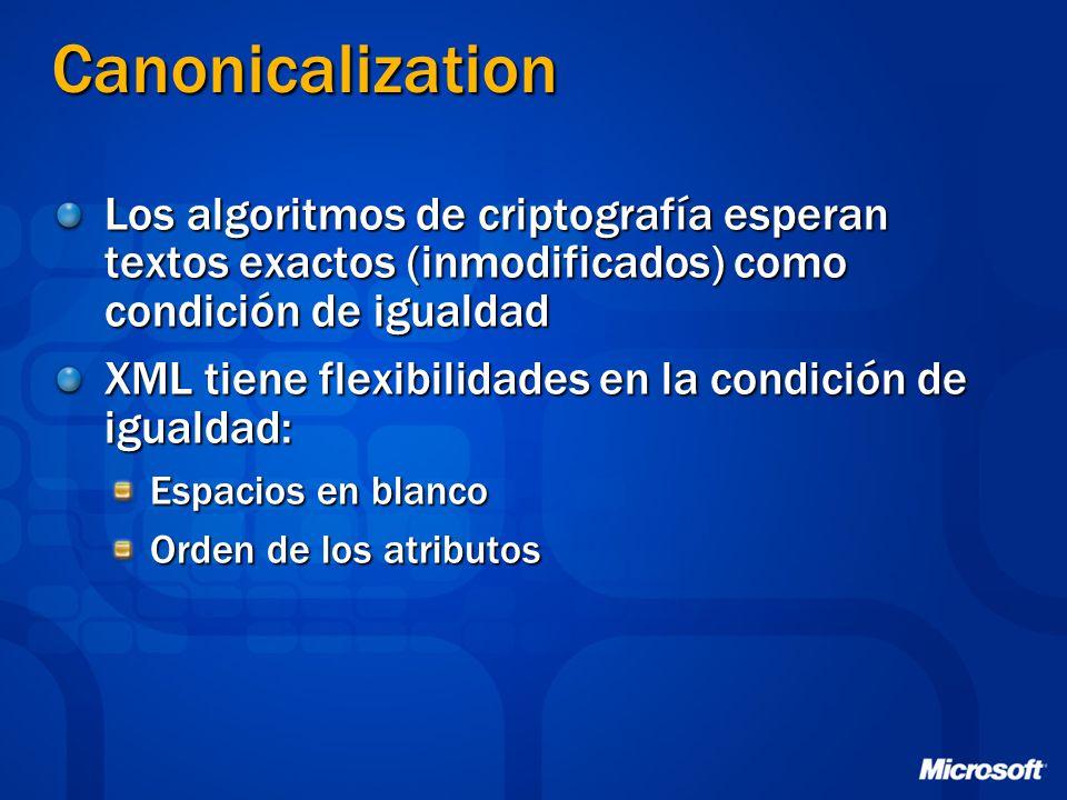 Canonicalization Los algoritmos de criptografía esperan textos exactos (inmodificados) como condición de igualdad XML tiene flexibilidades en la condi