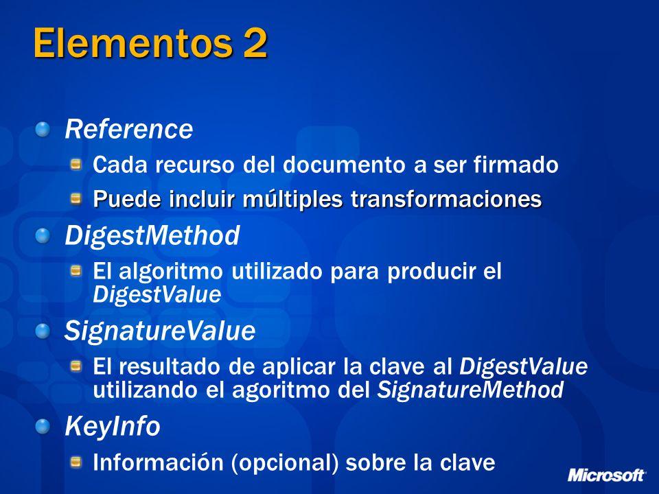 Elementos 2 Reference Cada recurso del documento a ser firmado Puede incluir múltiples transformaciones DigestMethod El algoritmo utilizado para produ