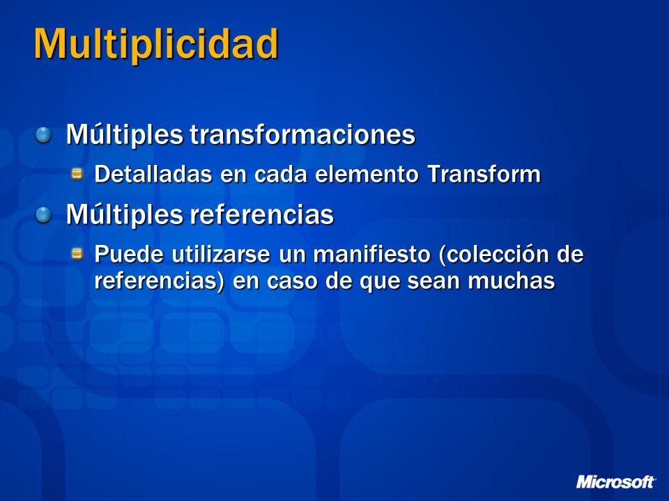 Multiplicidad Múltiples transformaciones Detalladas en cada elemento Transform Múltiples referencias Puede utilizarse un manifiesto (colección de refe