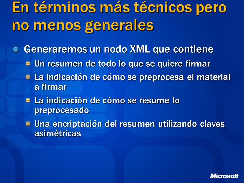 En términos más técnicos pero no menos generales Generaremos un nodo XML que contiene Un resumen de todo lo que se quiere firmar La indicación de cómo