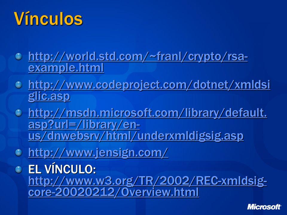 Vínculos http://world.std.com/~franl/crypto/rsa- example.html http://world.std.com/~franl/crypto/rsa- example.html http://www.codeproject.com/dotnet/x