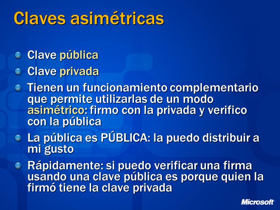 Claves asimétricas Clave pública Clave privada Tienen un funcionamiento complementario que permite utilizarlas de un modo asimétrico: firmo con la pri