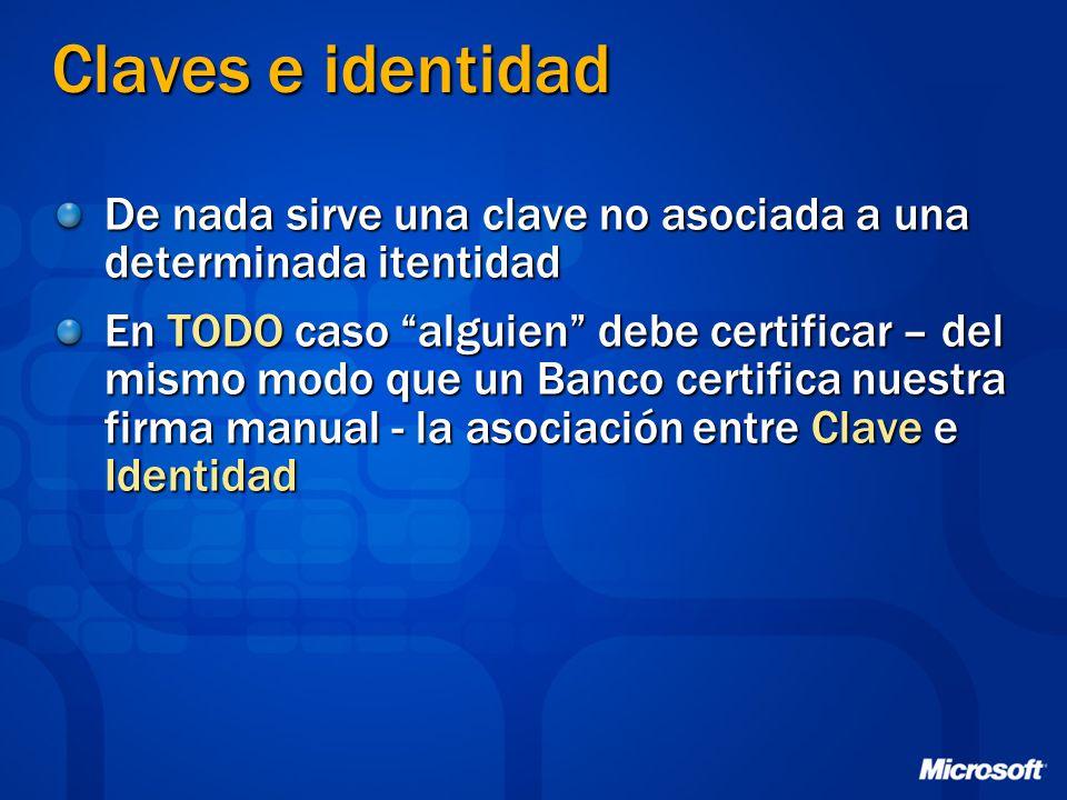 Claves e identidad De nada sirve una clave no asociada a una determinada itentidad En TODO caso alguien debe certificar – del mismo modo que un Banco