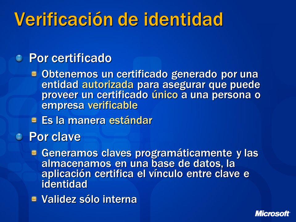 Verificación de identidad Por certificado Obtenemos un certificado generado por una entidad autorizada para asegurar que puede proveer un certificado