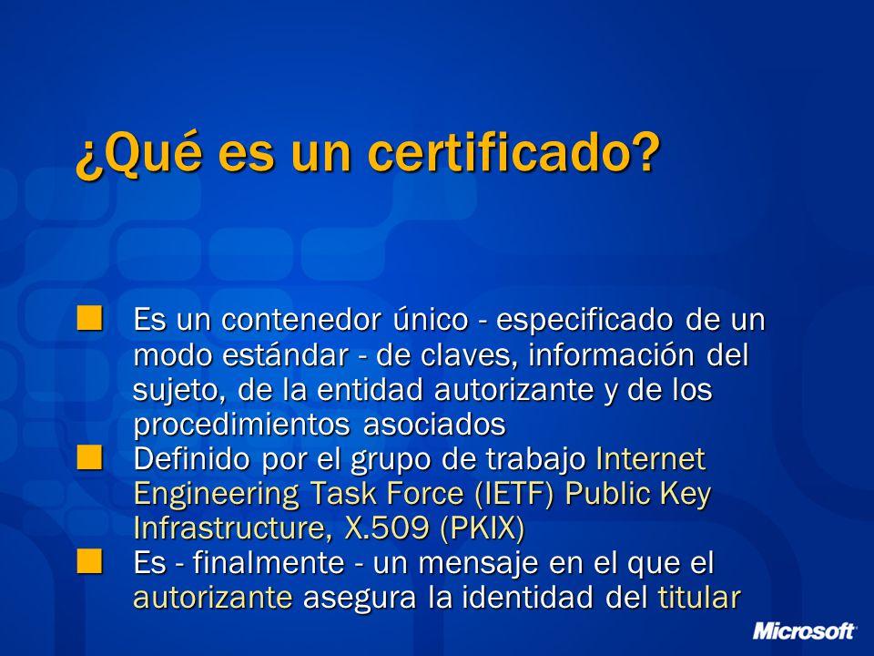 ¿Qué es un certificado? Es un contenedor único - especificado de un modo estándar - de claves, información del sujeto, de la entidad autorizante y de