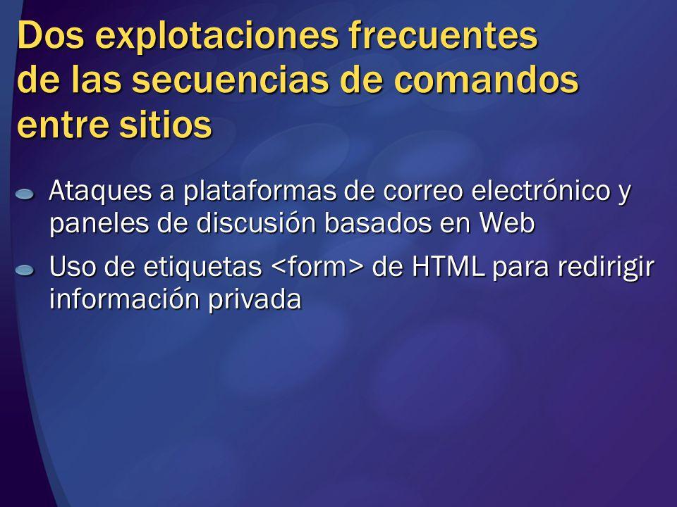 Dos explotaciones frecuentes de las secuencias de comandos entre sitios Ataques a plataformas de correo electrónico y paneles de discusión basados en Web Uso de etiquetas de HTML para redirigir información privada